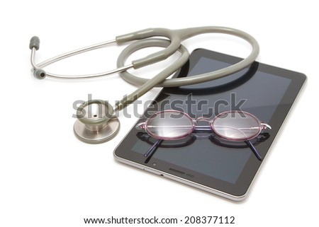 medical stethoscope on computer tablet ,concept modern health care and tecnology