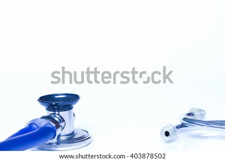 Medical stethoscope on white background. Medicine, health hospital equipment for health care, treatment. Closeup diagnostic instrument, examination device for pulse, heartbeat.Cardiology test. - stock photo