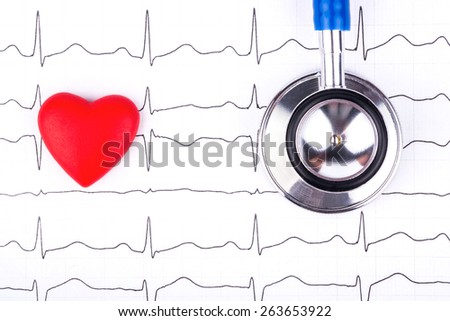 Medical stethoscope to listen to the lungs with a small red heart on the cardiogram - stock photo