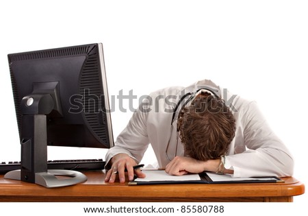 Medical Student Sleep in front of Computer Isolated - stock photo