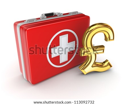 Medical suitcase and golden pound sterling sign.Isolated on white background.3d rendered. - stock photo