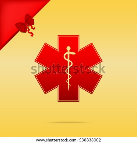 Medical symbol of the Emergency or Star of Life. Cristmas design red icon on gold background.