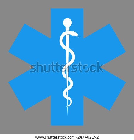 Medical symbol of the Emergency - Star of Life.  The illustration on gray background - stock photo