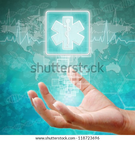 Medical symbol on hand ,medical icon  - stock photo