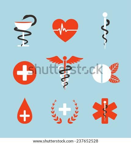 Medical Symbols Emblems Signs Collection Set Stock Illustration
