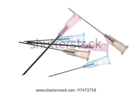 medical syringe needle isolated on white - stock photo