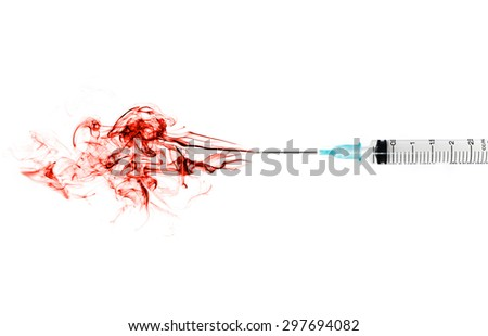 medical syringes with red blood  - stock photo