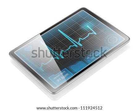 Medical tablet showing cardiogram on display, isolated on white background with reflection. - stock photo