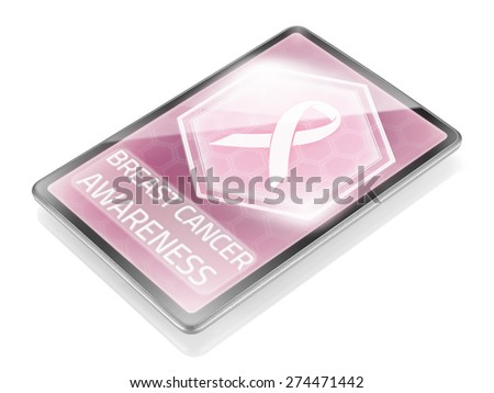 Medical tablet with pink ribbon symbol - stock photo