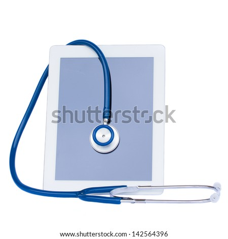 medical tablet with stethoscope isolated on white background - stock photo