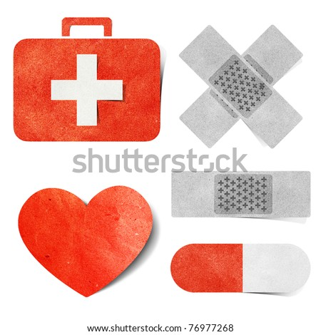 Medical tag recycled paper craft  stick background - stock photo