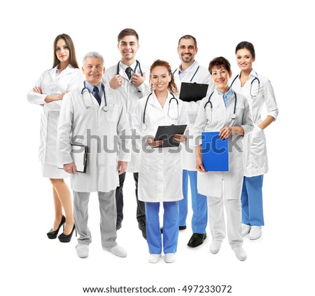 Medical team on white background. Health care concept.