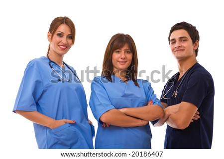 medical team portrait together on white background - stock photo