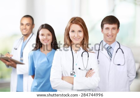 Medical, team, students. - stock photo