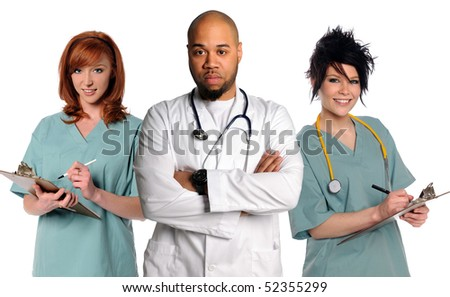 Medical Team with a doctor and nurses isolated over white background - stock photo