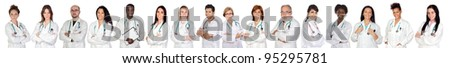 Medical team with white uniform on a over white background - stock photo