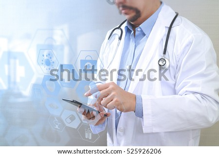 Medical technology concept. Doctor hand working with modern smart phone with medical chart interface,multi-channel connection,white background