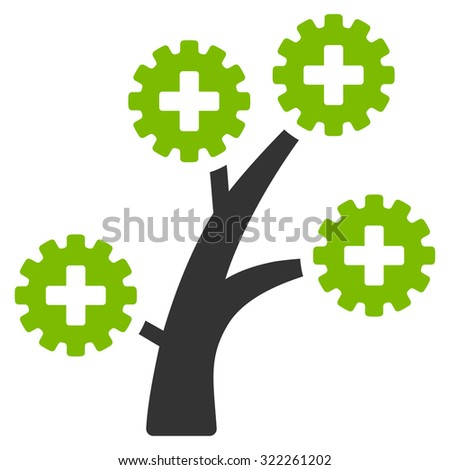 Medical Technology Tree raster icon. Style is bicolor flat symbol, eco green and gray colors, rounded angles, white background. - stock photo