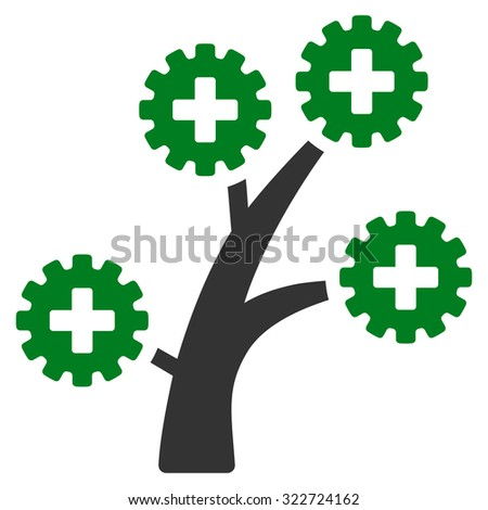 Medical Technology Tree raster icon. Style is bicolor flat symbol, green and gray colors, rounded angles, white background. - stock photo
