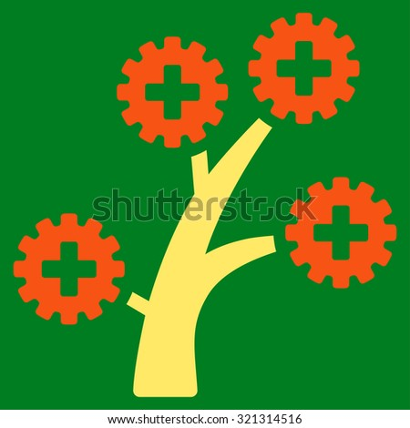 Medical Technology Tree raster icon. Style is bicolor flat symbol, orange and yellow colors, rounded angles, green background. - stock photo