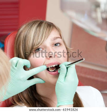 Medical treatment at the dental clinic - stock photo