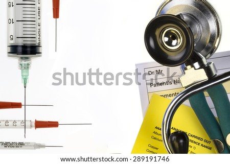 Medical treatment - Doctors stethoscope - Space for Text - stock photo