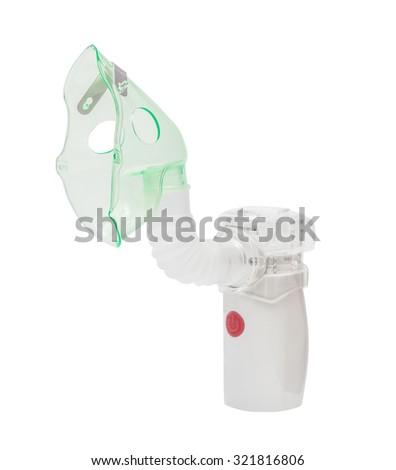 Medical ultrasonic mesh inhaler (nebulizer, nebuliser) nebular. Respiratory medicine. Asthma breathing treatment. Bronchitis health equipment, Illness care, isolated on the white background - stock photo