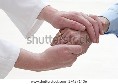 Medical Visit - elderly care -- dare-deforming arthritis  - stock photo