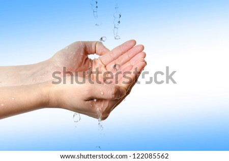 medical wash hand gesture series, cleaning with bubble on blue background