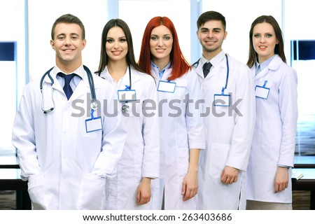 Medical workers in conference room - stock photo
