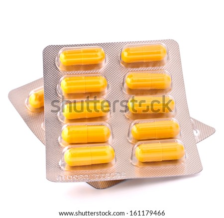 Medicament caplet blister isolated on white background cutout - stock photo