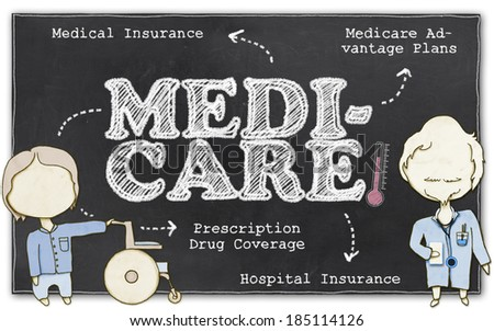 Medicare Drawing on Blackboard with Clipping Path - stock photo