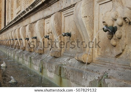 Medicean Fountains in Saint Mary of Angels Cathedral. Assisi, Italy