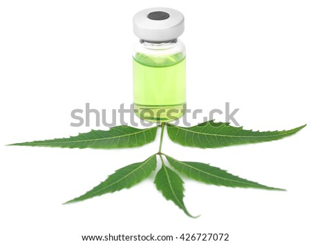 Medicinal neem leaves with a vial over white background - stock photo