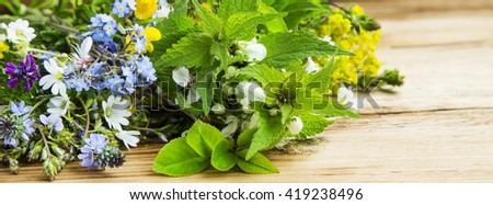 Medicinal plants and flowers bouquet on wooden board