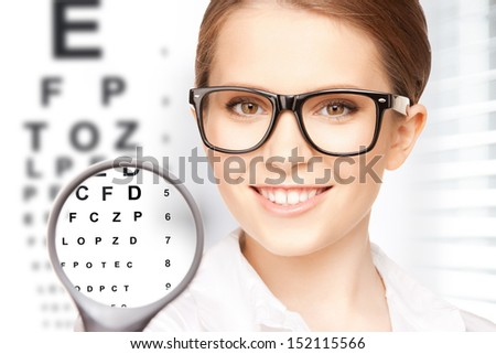 medicine and vision concept - woman with magnifier and eye chart - stock photo