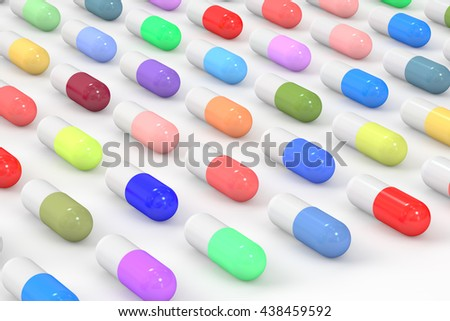 Medicine background, rows of pills, 3D rendering