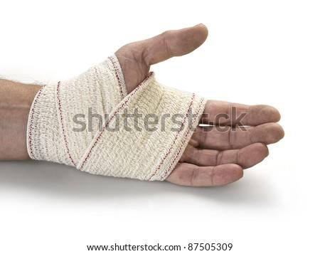 Medicine bandage on human hand - stock photo