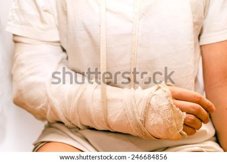 medicine bandage on injury elbow - stock photo