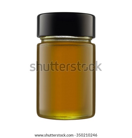 Medicine bottle of brown glass isolated on white - stock photo