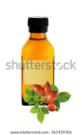 medicine bottle with yellow syrup and dog-rose isolated on white background - stock photo