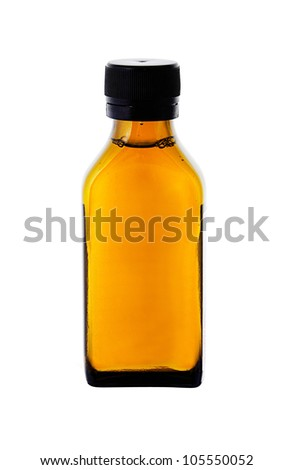 medicine bottle with yellow syrup isolated on white background - stock photo