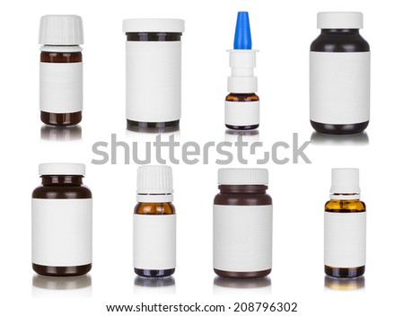 Medicine bottles, isolated on white - stock photo