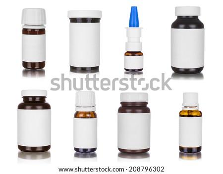 Medicine bottles, isolated on white - stock photo