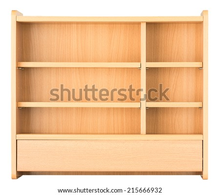 Medicine cabinet, drugs shelf, cupboard in drugstore isolated on white background - stock photo