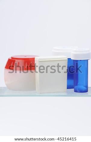 medicine cabinet isolated on white - stock photo