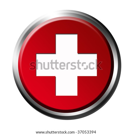 Medicine chest symbol with chrome frame over white background