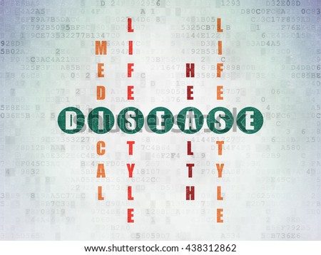 Medicine concept: Painted green word Disease in solving Crossword Puzzle on Digital Data Paper background - stock photo