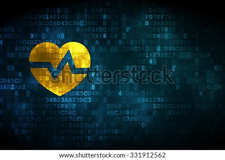 Medicine concept: pixelated Heart icon on digital background, empty copyspace for card, text, advertising - stock photo