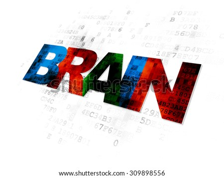 Medicine concept: Pixelated multicolor text Brain on Digital background